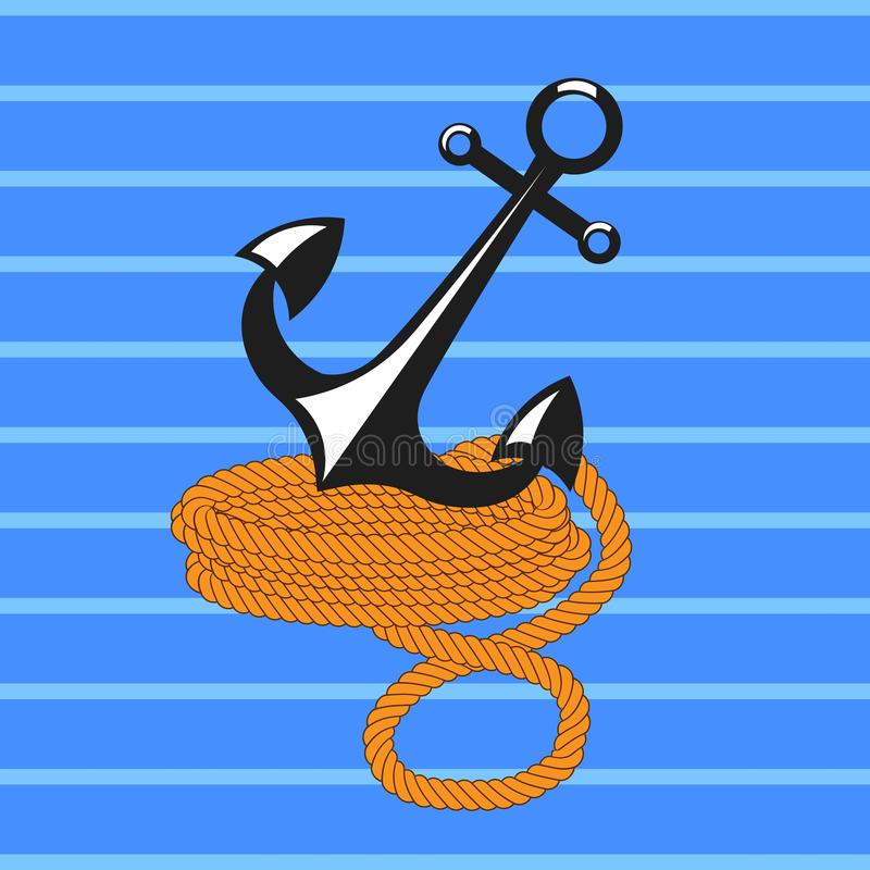 Download Anchor With Rope Stock Illustration - Image: 83711071