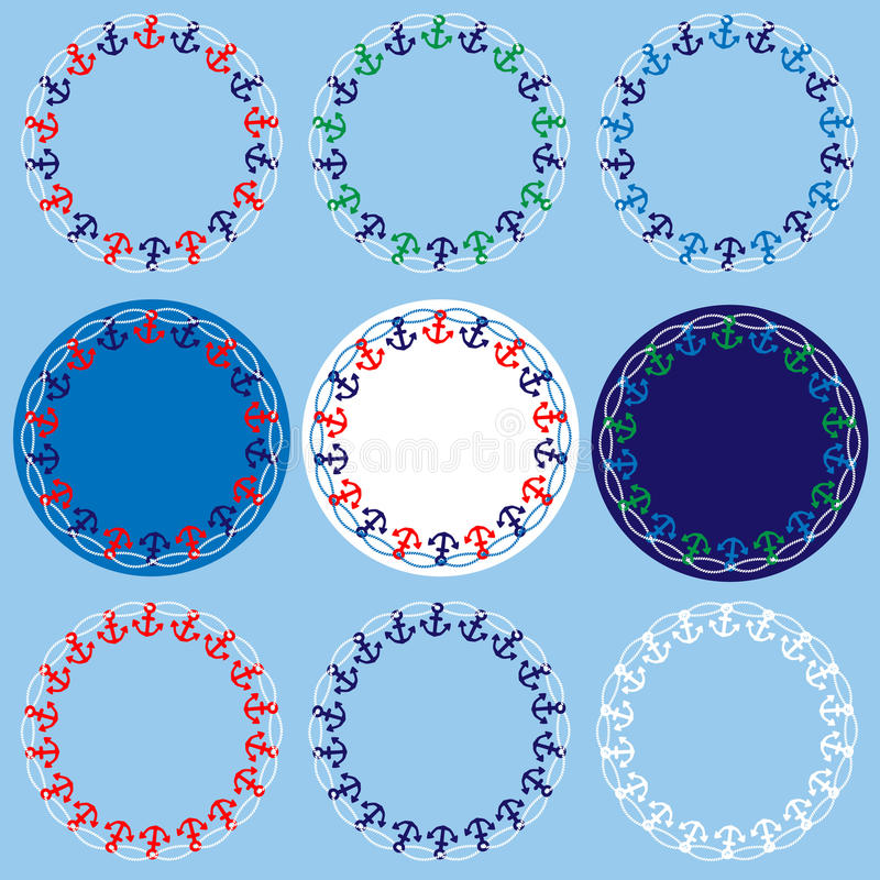 download anchor and rope nautical circle frames stock illustration image 91400719 - Nautical Frames