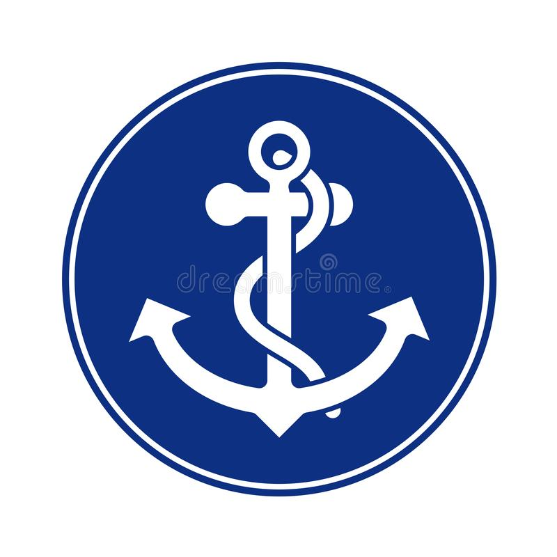 Anchor with rope round icon. Anchor with rope symbol, negative in navy blue circle. Nautical and sailing icon royalty free illustration