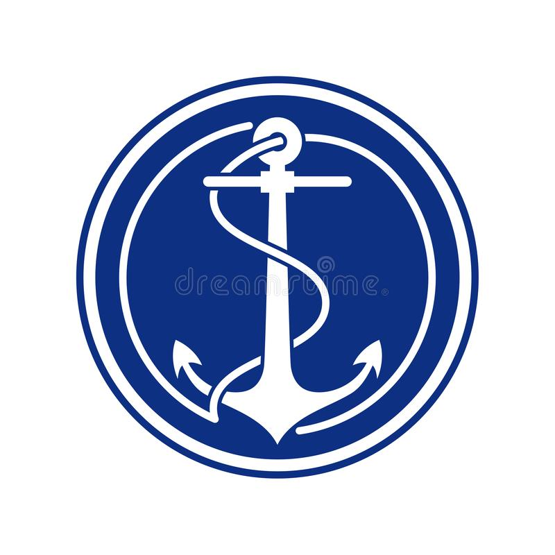 Anchor symbol in blue circle. Anchor with rope symbol, negative in navy blue circle royalty free illustration