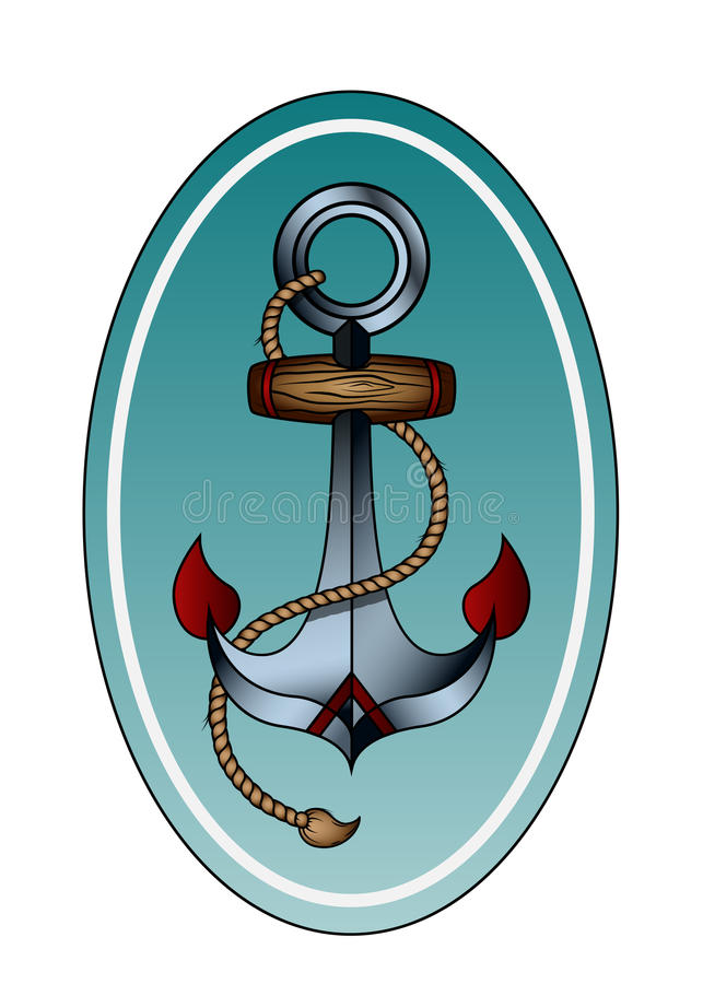 Download anchor with rope stock vector image of sign chain rope 74619536