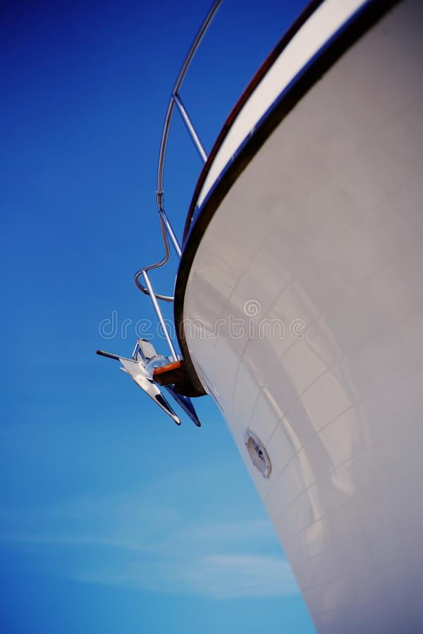 Anchor of sailing boat. Bow of  white sailing boat royalty free stock photos