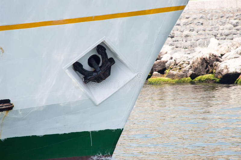 Anchor of a Sailing Boat. Anchor of the Boat on the Sea royalty free stock photo