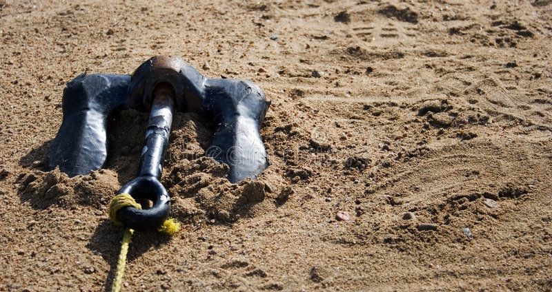 Anchor on the sand royalty free stock photo