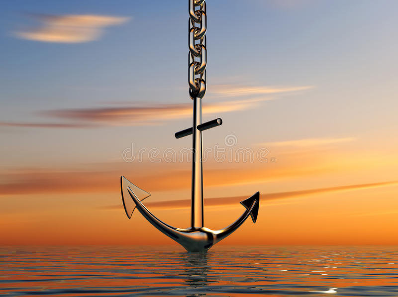 Download Anchor on sea stock illustration. Image of steel, white - 11733301