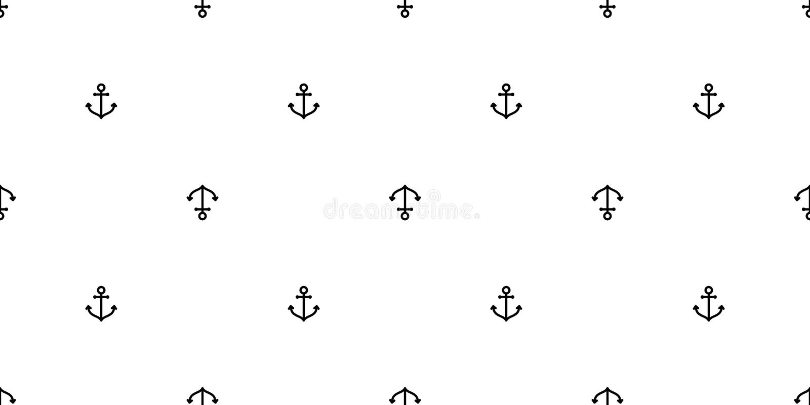 Anchor seamless pattern vector boat pirate helm maritime Nautical sea ocean repeat wallpaper scarf isolated tile background line d. Oodle design white vector illustration