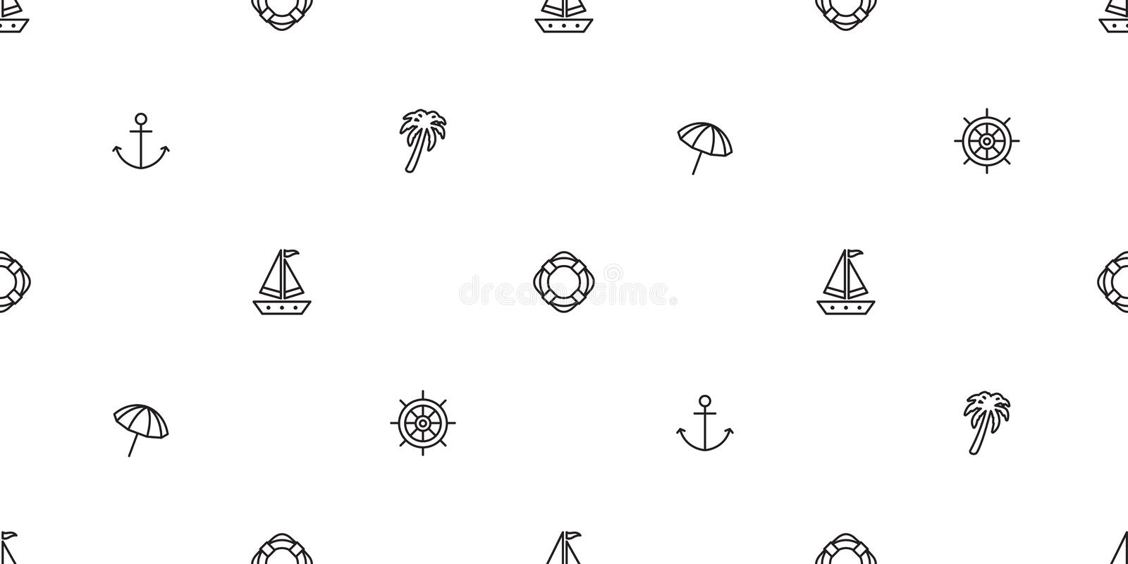 Anchor seamless pattern vector boat pirate helm palm tree maritime Nautical sea ocean umbrella beach scarf isolated repeat wallpap vector illustration