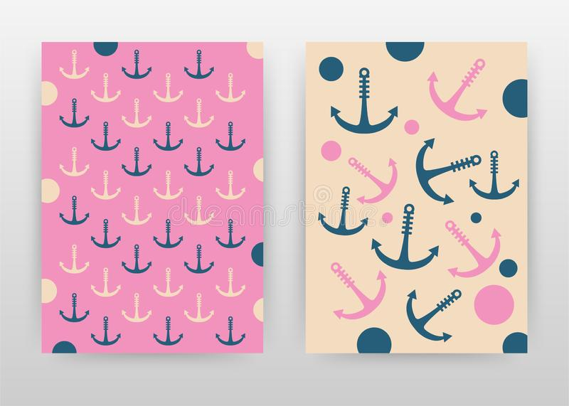 Anchor seamless texture on pink bisque design for annual report, brochure, flyer, poster. anchor signs on pink and biqsue colored. Background vector royalty free illustration