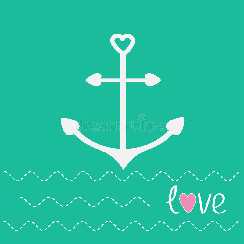 Anchor with shapes of heart and dash line waves. Love card. Vector illustration vector illustration