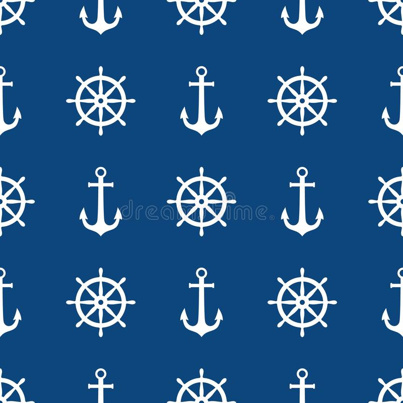 Anchor and ship wheel seamless pattern design. Vector nautical sea pattern print, white ship wheel and anchor on blue. Background. Ocean print vector illustration