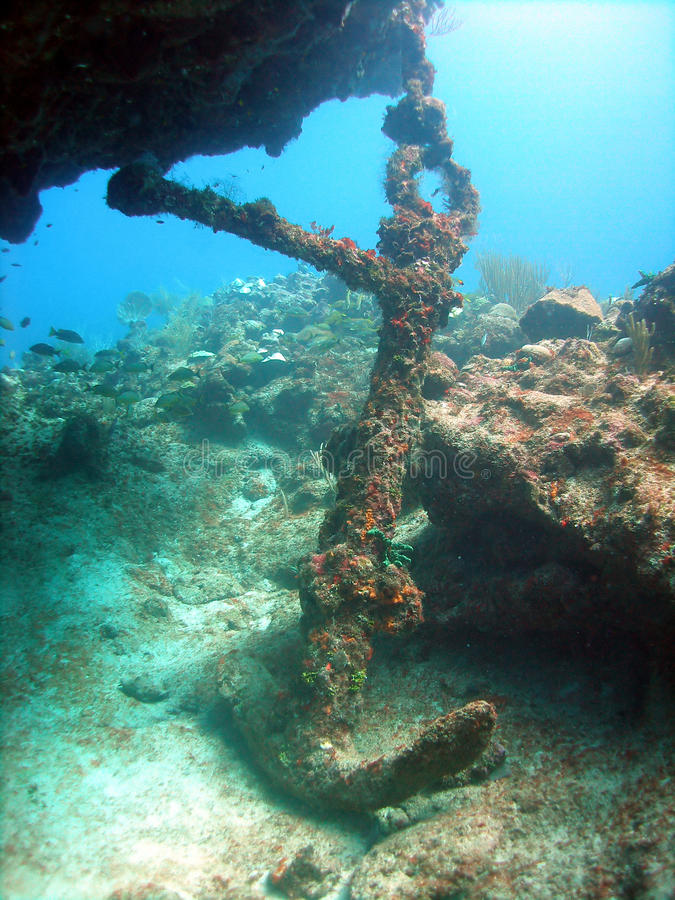 Anchor from ship wreck royalty free stock photography