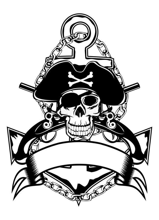 Download Anchor and skull stock vector. Illustration of military - 24907858