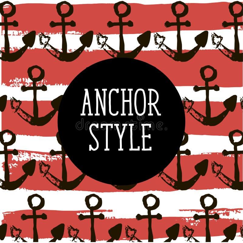 Anchor Style Vector Red Pattern Sea Ocean Illustration vector illustration