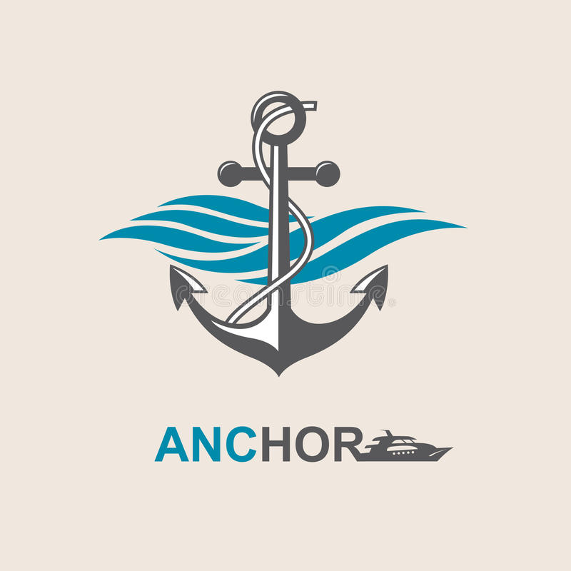 Anchor symbol image. Image of anchor symbol with sea waves vector illustration