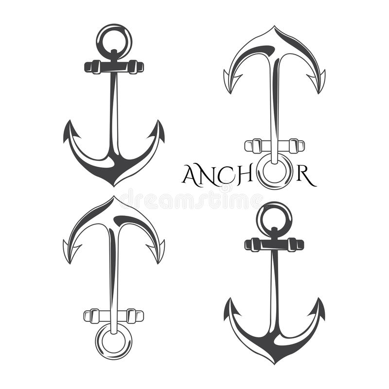 Free Anchor Symbols Set In Vector Illustration. Royalty Free Stock Images - 70207919