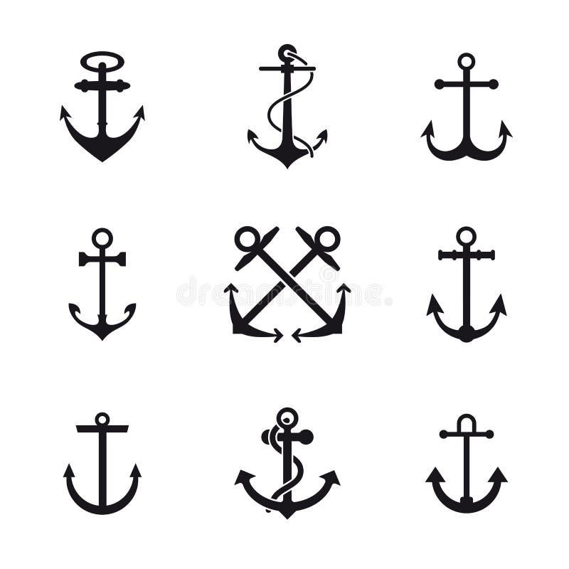 Anchor symbols vector illustration. Set of nine anchor signs vector illustration. Sailing and navy symbols. Maritime signs. Nautical equipment vector illustration