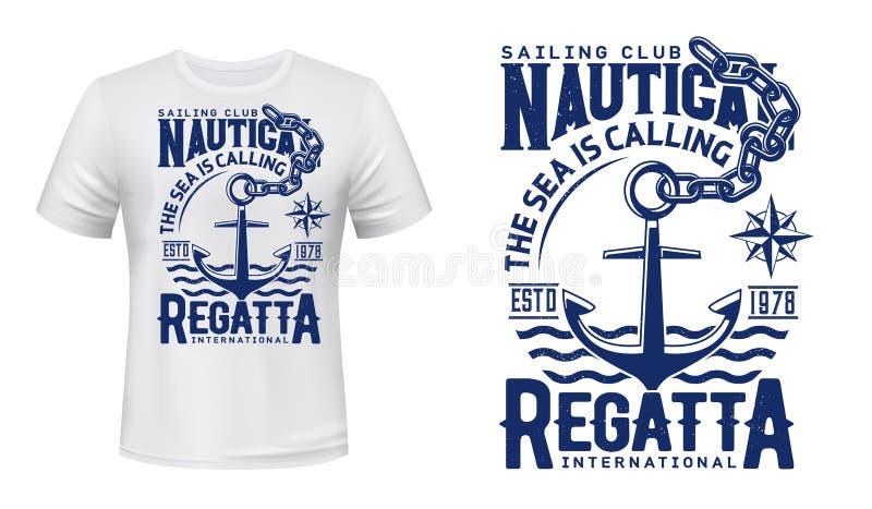 Anchor t-shirts för tryckning av yacht Club regatta royaltyfri illustrationer