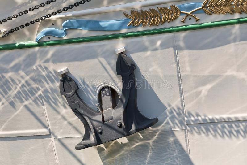 Anchor on a Tall Ship stock images