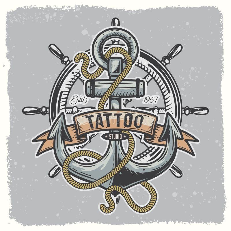 Anchor_tatoo_01 vektor illustrationer