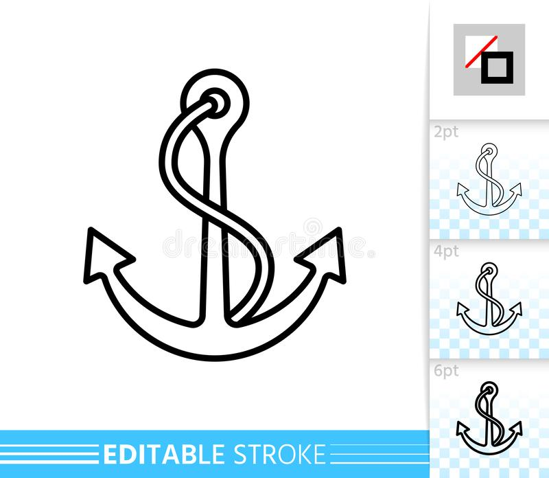 Anchor nautical sea simple thin line vector icon. Anchor thin line icon. Nautical banner in flat style. Sea poster. Linear pictogram. Simple illustration stock illustration