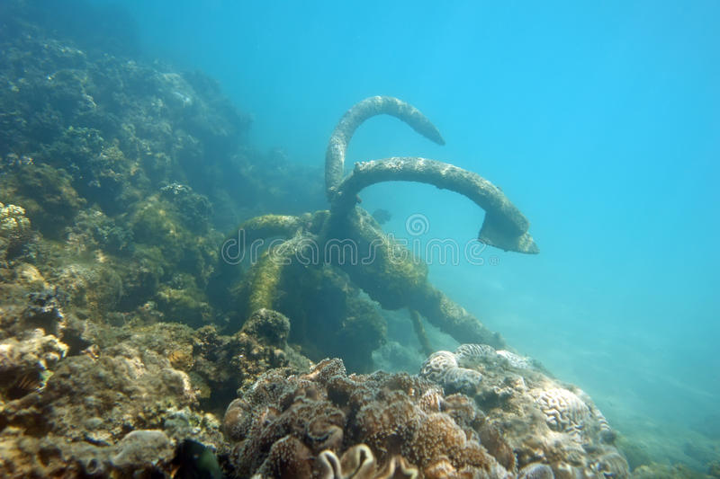 Anchor under the sea royalty free stock image