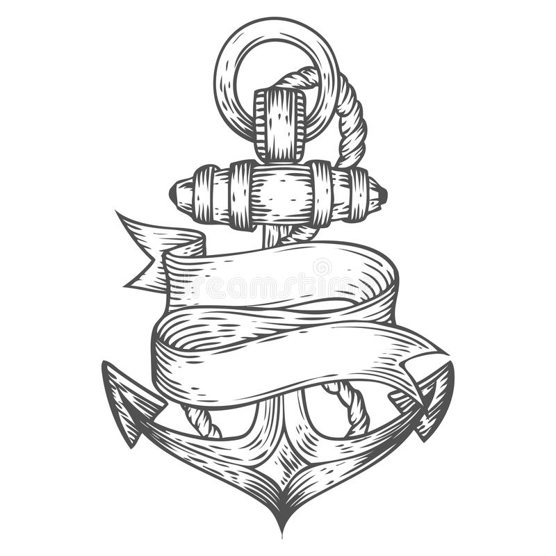 Anchor vector hand drawn illustration engraved style. Retro vintage nautical doodle. With ribbon. Sketch logo, emblem, banner, label. Isolated on white stock illustration