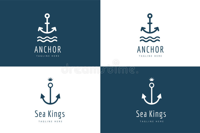 Anchor vector logo icon set. Sea, vintage or stock illustration