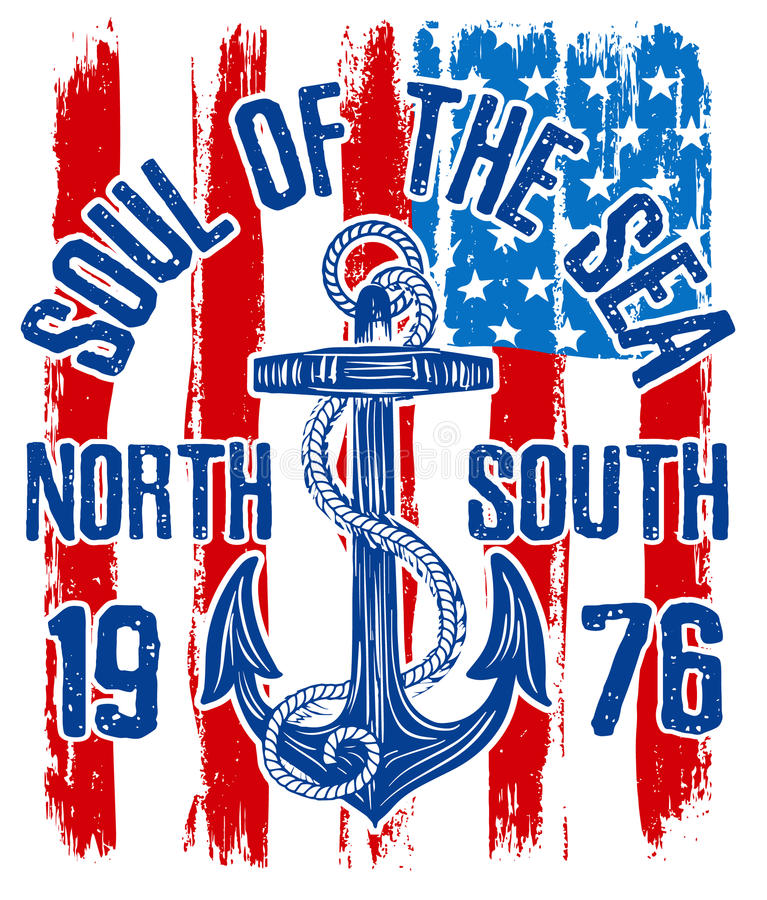 Anchor vintage design with american flag stock illustration