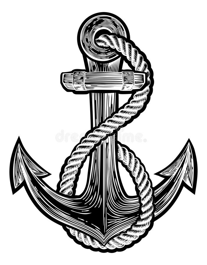 Anchor Vintage Style Tattoo Illustration royalty free illustration