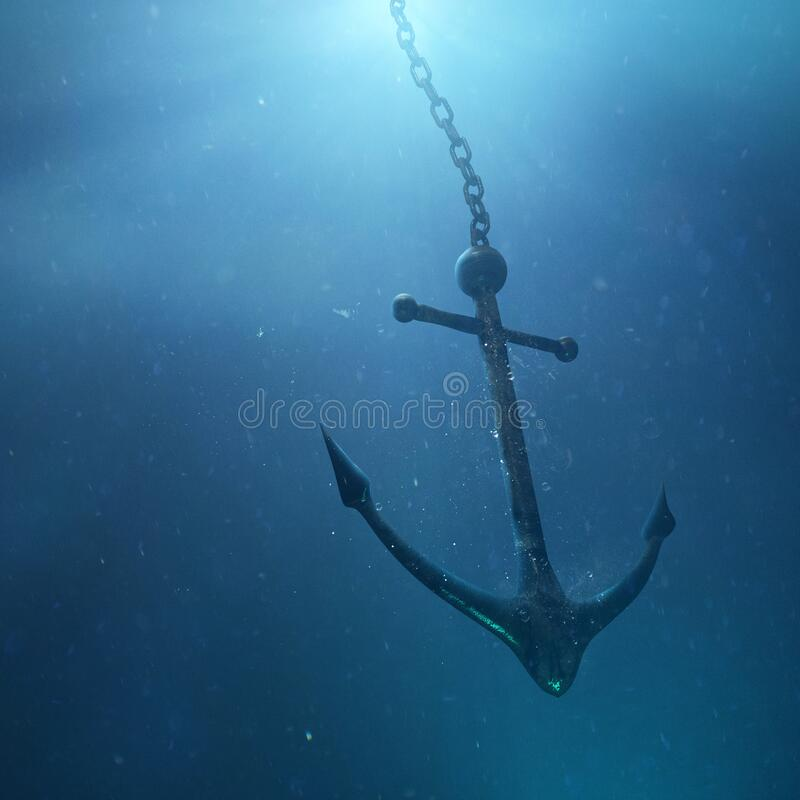 Anchor in the water stock photography