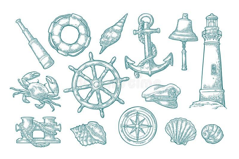 Anchor, wheel, bollard, hat, compass rose, shell, crab, lighthouse engraving. Set sea adventure. Anchor, wheel, bollard, hat, compass rose, shell, crab, bell vector illustration