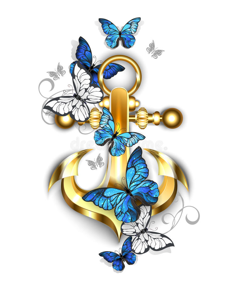 Free Anchor With Butterflies Morpho Royalty Free Stock Photos - 92589478
