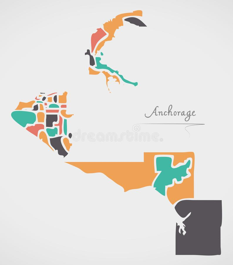 Anchorage Alaska Map with neighborhoods and modern round shapes. Illustration stock illustration
