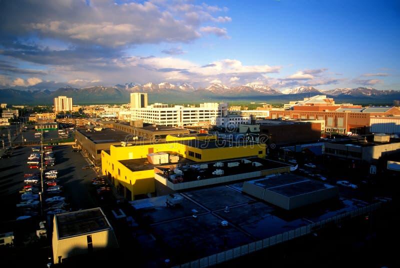 Anchorage, Alaska um 10 P.M stockbilder