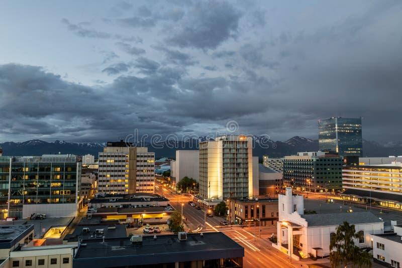 Anchorage alla notte fotografia stock libera da diritti