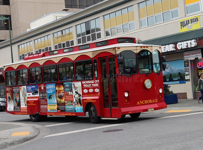 Anchorage City Trolley Tours royalty free stock photos