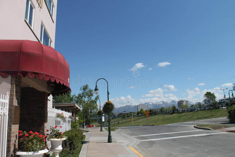 Anchorage Grand Hotel. View in front of Anchorage Grand Hotel looking towards the mountains stock photos