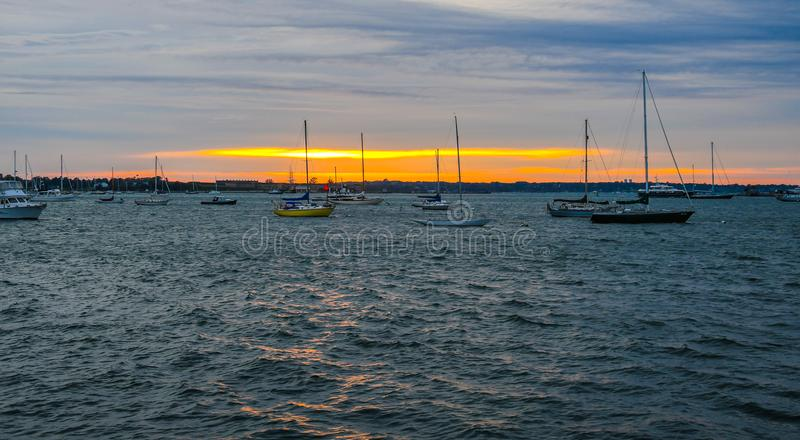 Anchorage on Narragansett Bay stock photography