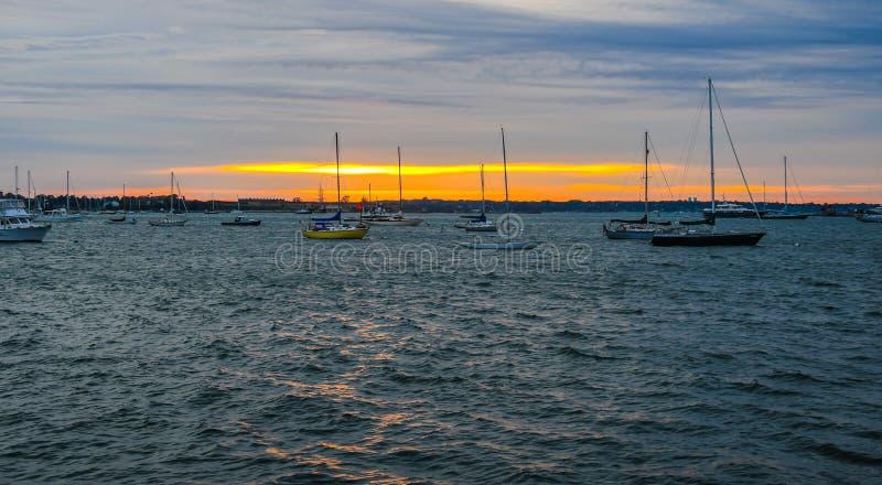 Anchorage sulla baia di Narragansett fotografia stock