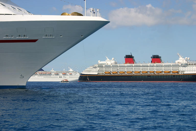 Anchored Cruise Ships stock image
