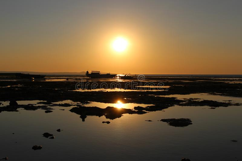 A seashore beautiful sunset panoramic view. royalty free stock image
