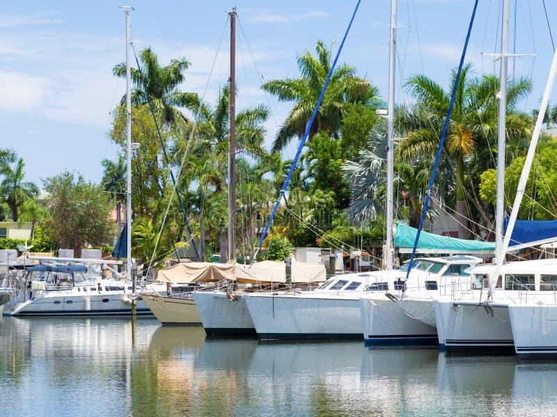 Anchored sailboats in Florida stock photo
