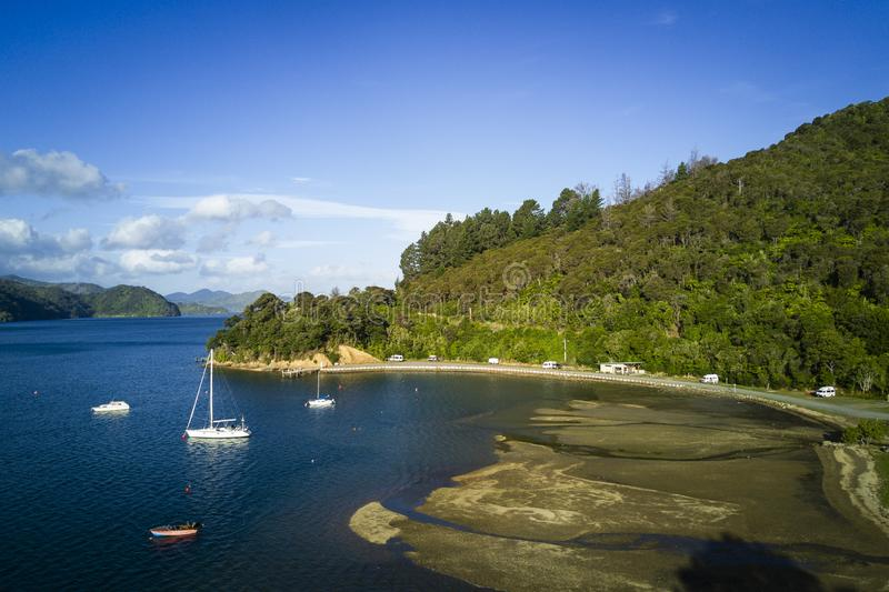 Arial view of Momorangi Bay and sailboats in New Zealand royalty free stock images