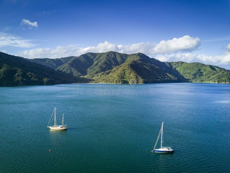 Arial view of Momorangi Bay and sailboats in New Zealand royalty free stock photos