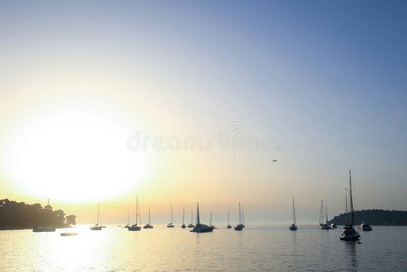 Anchored sailboats at open sea royalty free stock images