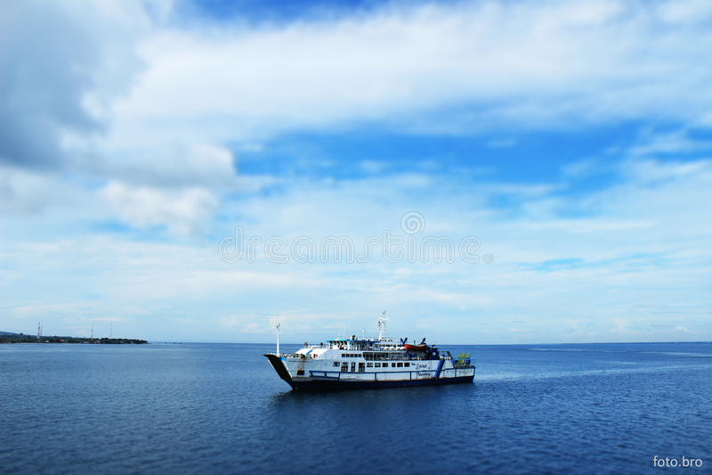 Anchored ship royalty free stock photo