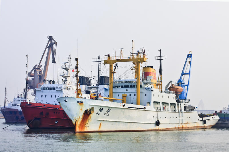 Anchored ships in Port of Tianjin, China stock photography