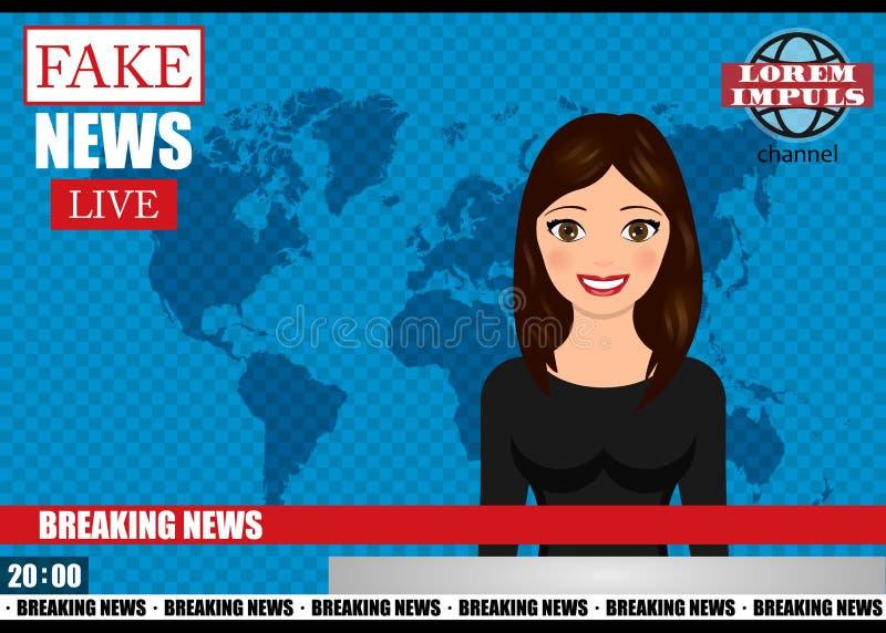 Anchorman on tv broadcast news. Fake Breaking News vector illustration. Media on television concept stock illustration