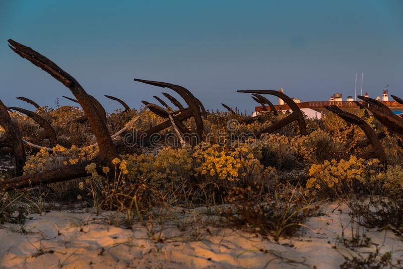Anchors on Barril Beach Algarve Portugal stock images