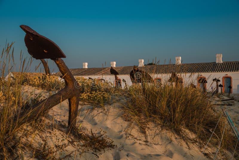 Anchors on Barril Beach Algarve Portugal stock photo